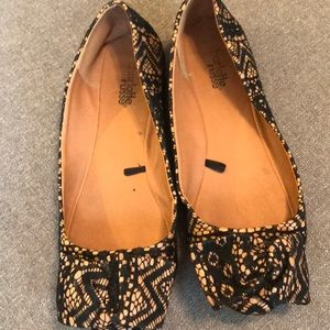 Charlotte Russe black lace bow flats